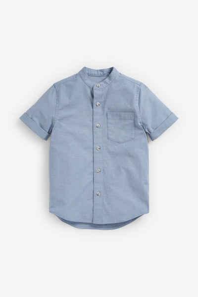 Next Kurzarmhemd »Kurzärmeliges Oxfordhemd mit Grandad-Kragen« (1-tlg)