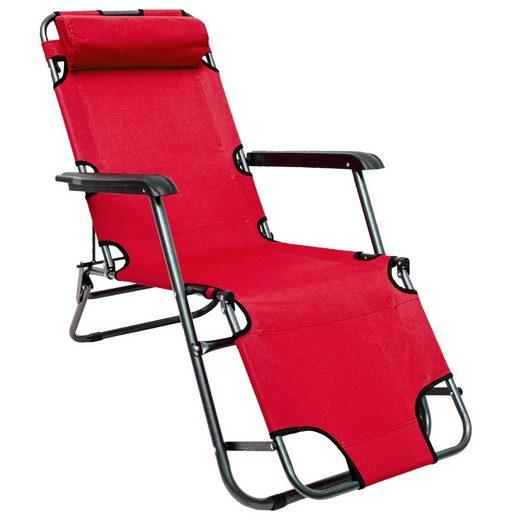 AMANKA Campingliege »Campingstuhl Liegestuhl Freizeitliege Sonnenliege« Campingliege Liege 153 cm Rot