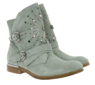 Arizona »ARIZONA Schuhe Echtleder-Boots moderne Damen Stiefel mit Ziersteinen Stiefelette Mint« Stiefelette