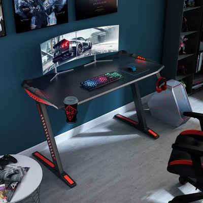 Yulukia Gamingtisch »Z-förmiger PC-Computer-Gaming-Schreibtisch, Gamer Tables Pro mit Getränkehalter und Kopfhörerhaken,120*60CM«, Z-förmiger PC-Computer-Gaming-Schreibtisch