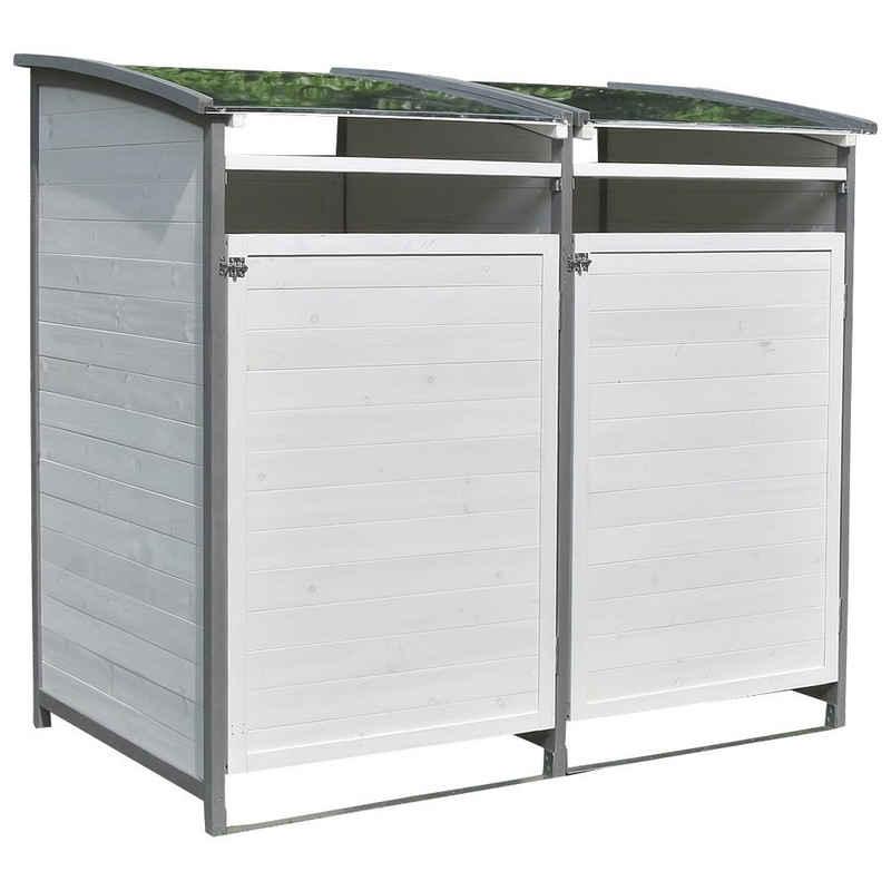 Mucola Mülltonnenbox »Mülltonnenbox Doppelbox für 2 Tonnen Mülltonnenverkleidung Mülltonne 240L Gartenbox Anbaubox Holz Anbau Deckel Grau Braun Weiß Zinkdach«, mit Deckel
