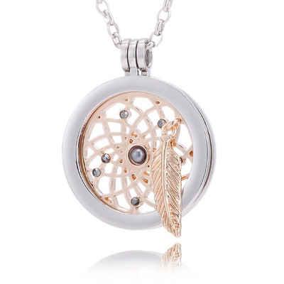 Morella Kette mit Anhänger »Damen Halskette 70 cm mit Coin 33 mm« (2-tlg., Kette inkl. Coin und Samtbeutel), Silberkette inkl. austauschbarem Coin, im Samtbeutel