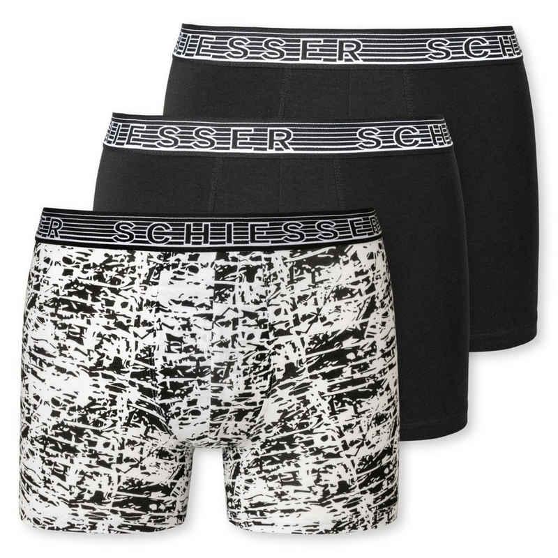 Schiesser Retro Pants »3er Pack Teens Boys 95/5 Organic Cotton« (3 Stück) Shorts / Pants - Rundumlaufendem Logo-Schriftzug am Gummibund, Bequeme Passform, Elastische Single-Jersey-Qualität