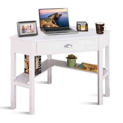 COSTWAY Eckschreibtisch »Computertisch, Schreibtisch, Arbeitstisch«, mit Schublade & 2 Ablagen, 75 x 75 x 76 cm