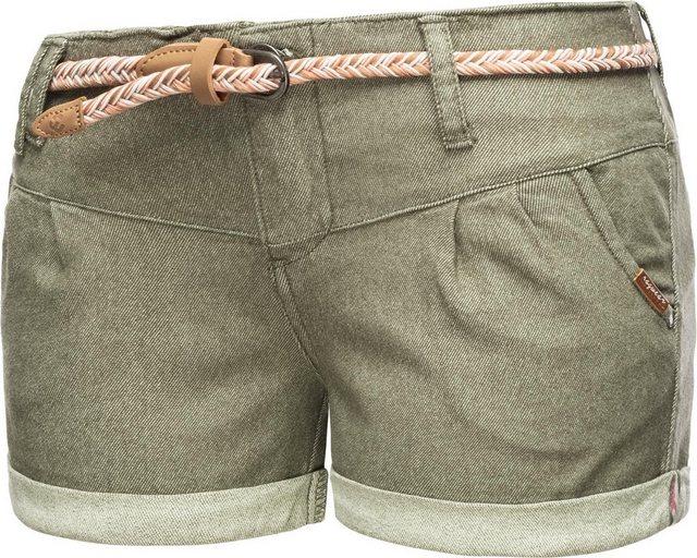 Hosen - Ragwear Chinoshorts »Heaven A« kurze Hose mit hochwertigem Flechtgürtel › grün  - Onlineshop OTTO