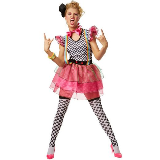 tectake Clown-Kostüm »Frauenkostüm Neon Clown«