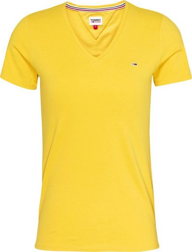 TOMMY JEANS V-Shirt »TJW SLIM JERSEY VN SHORTSLEEVE« mit Tommy Jeans Logo-Flag auf der Brust