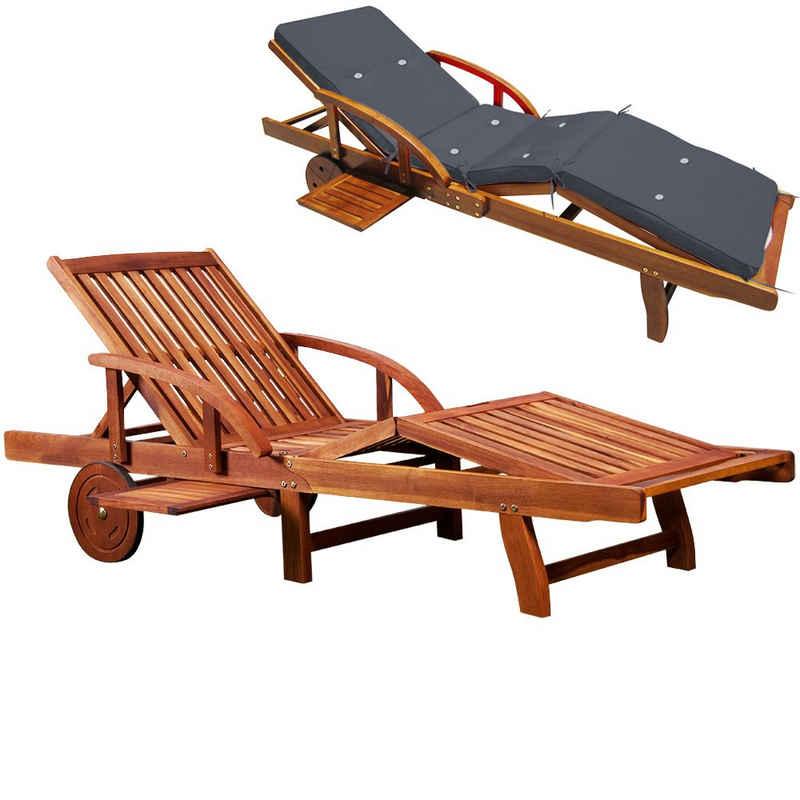 Deuba Gartenliege Gartenliege mit Auflage Anthrazit Tami Sun Akazien Holz verstellbar ausziehbarer Tisch klappbar Holzliege Liege Liegestuhl