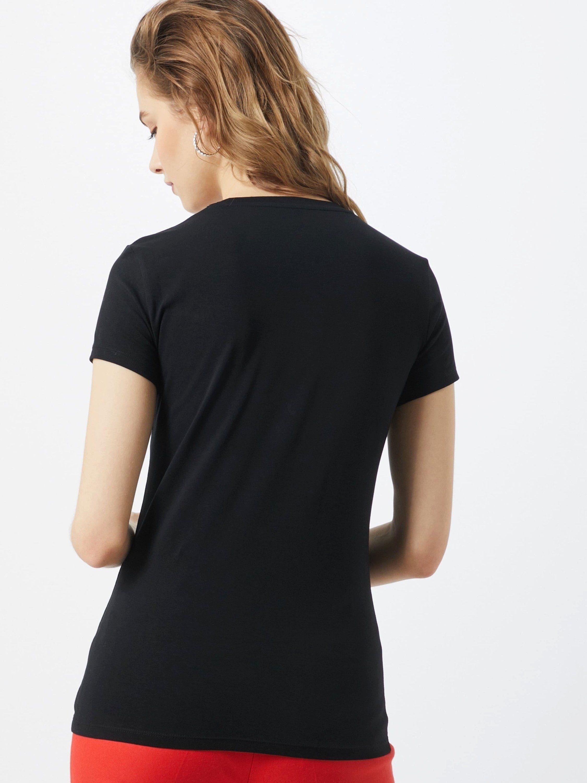 Guess Print-Shirt SPARKLE Ziersteine, Abgesteppter Saum/Kante