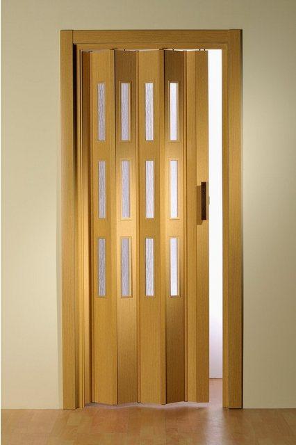 Kunststoff-Falttür mit Fenster Riffelstruktur, Höhe nach Maß, eichefarben-hell, braun