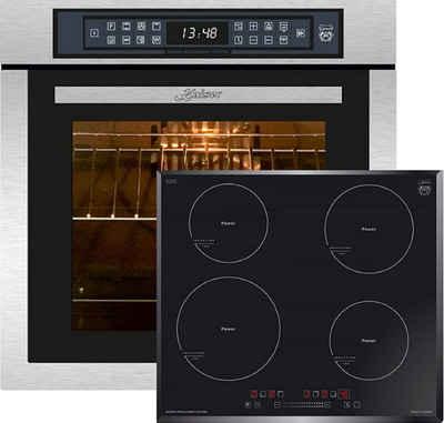 Kaiser Küchengeräte Backofen-Set EH 6306 R + KCT 6705 FI /3, Einbaubackofen,Edelstahl,79L 15 Fkt. Grill Air fryer Full Touch,Funktion Heißluftfritteuse, Autark, Heißluftofen, Herausnehmbare Glasstür, mit Grill, Umluftofen, Katalytisches Reinigungssytem+4 Kochzonen, Einbau Herd, Power Booster, Full Touch Control, Autark