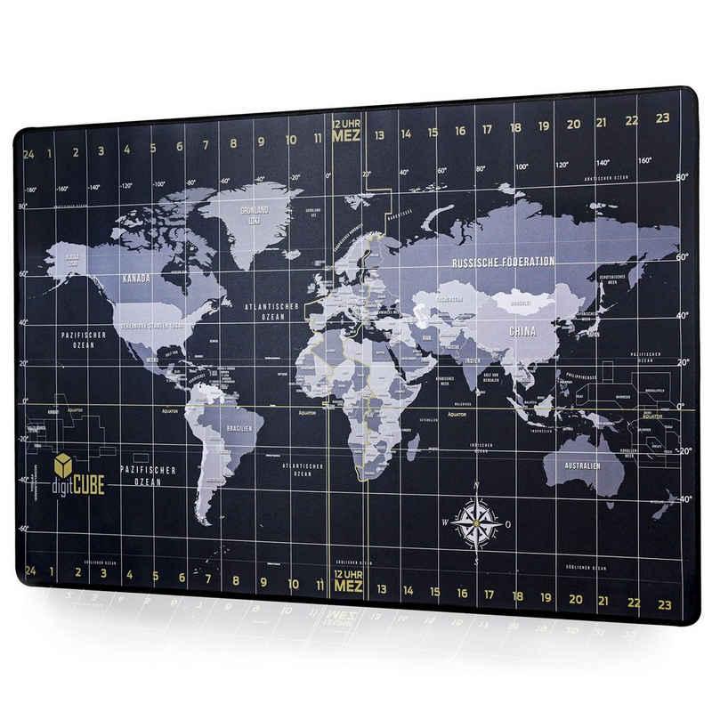 digitCUBE Schreibtischunterlage »Tischunterlage Weltkarte 90x40cm mit deutschem Layout«
