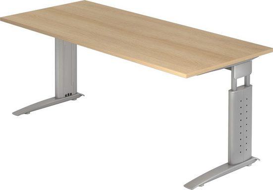 bümö Schreibtisch »OM-US19-S«, höhenverstellbar - Rechteck: 180x80 cm - Gestell: Silber, Dekor: Eiche