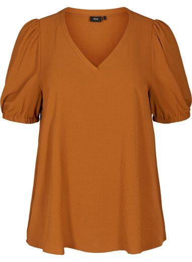 Zizzi Kurzarmbluse Große Größen Damen Einfarbige Bluse mit kurzen Puffärmeln und V Ausschnitt