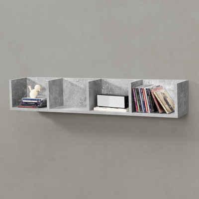 en.casa Wandregal, Hängeregal, »Ekerö« Bücherregal Schweberegal Wandboard 95x17x16,5cm CD Regal mit 4 Ablagefächern Betonfarben