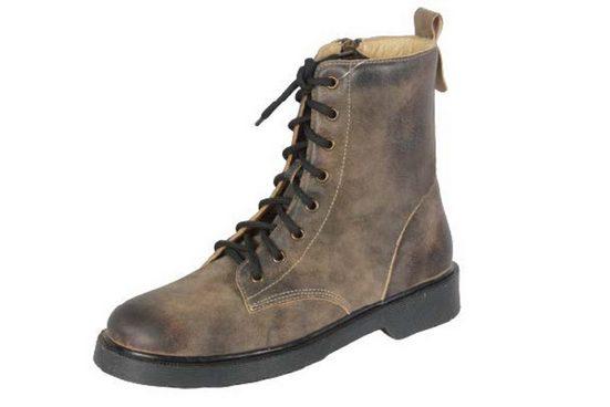 Pezzo D'oro »Pezzo D'oro Damen Trachten Boots, echt Wildbockleder in antik Optik,Farbe olivbraun, geschnürt,hoher Schaft« Schnürboots