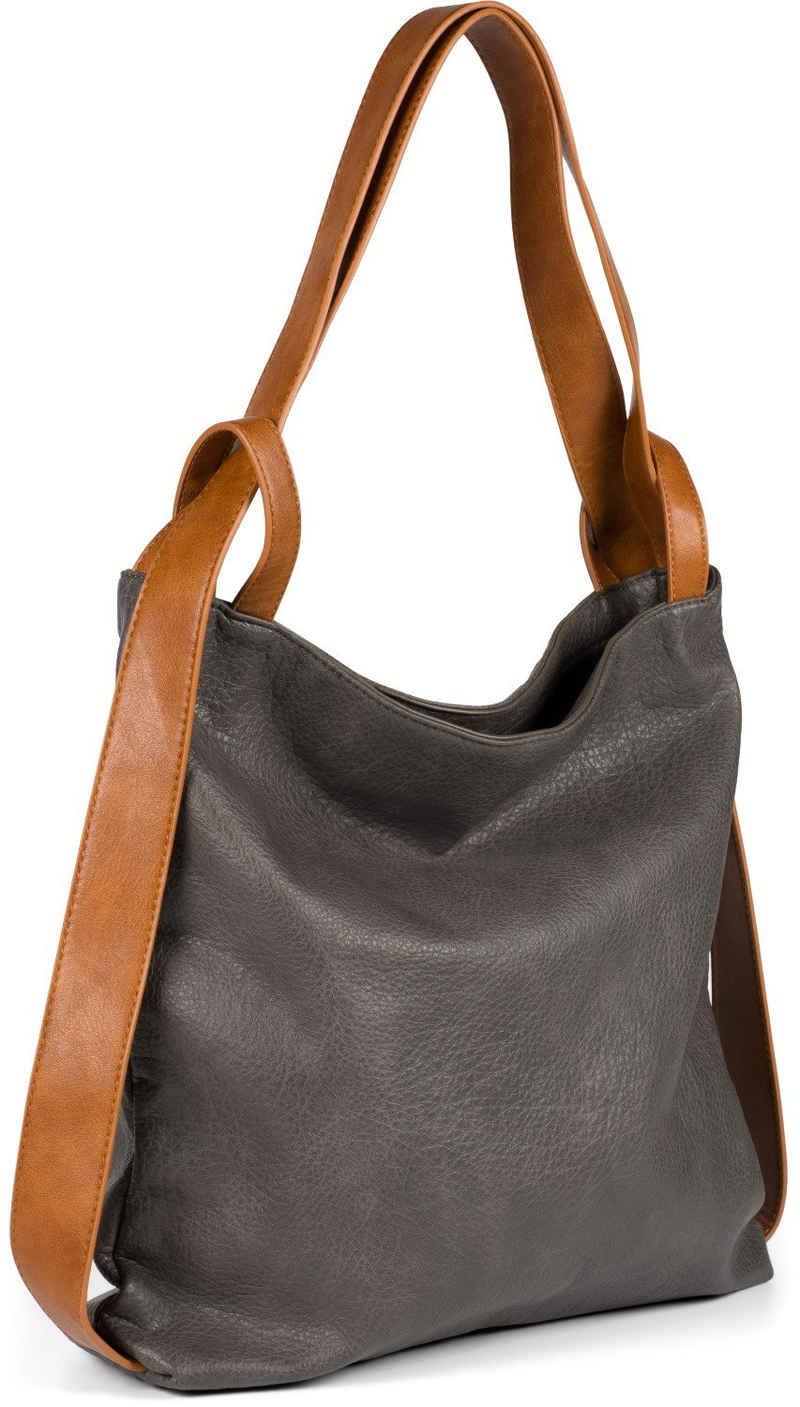 styleBREAKER Schultertasche, 2 in 1 Rucksackhandtasche im Vintage Look