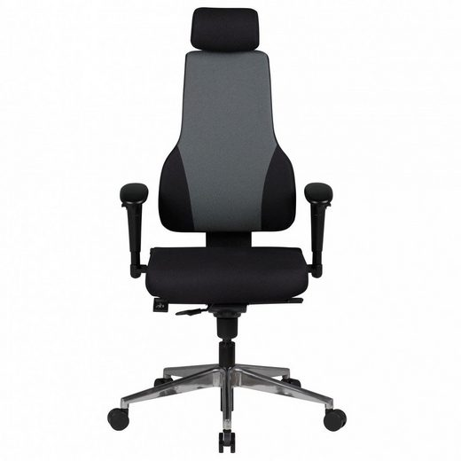 Amstyle Chefsessel »SPM1.272« Bürostuhl Qentin schwarz/grau Schreibtischstuhl Stoffbezug Chefsessel Drehstuhl Synchronmechanik Kopfstütze