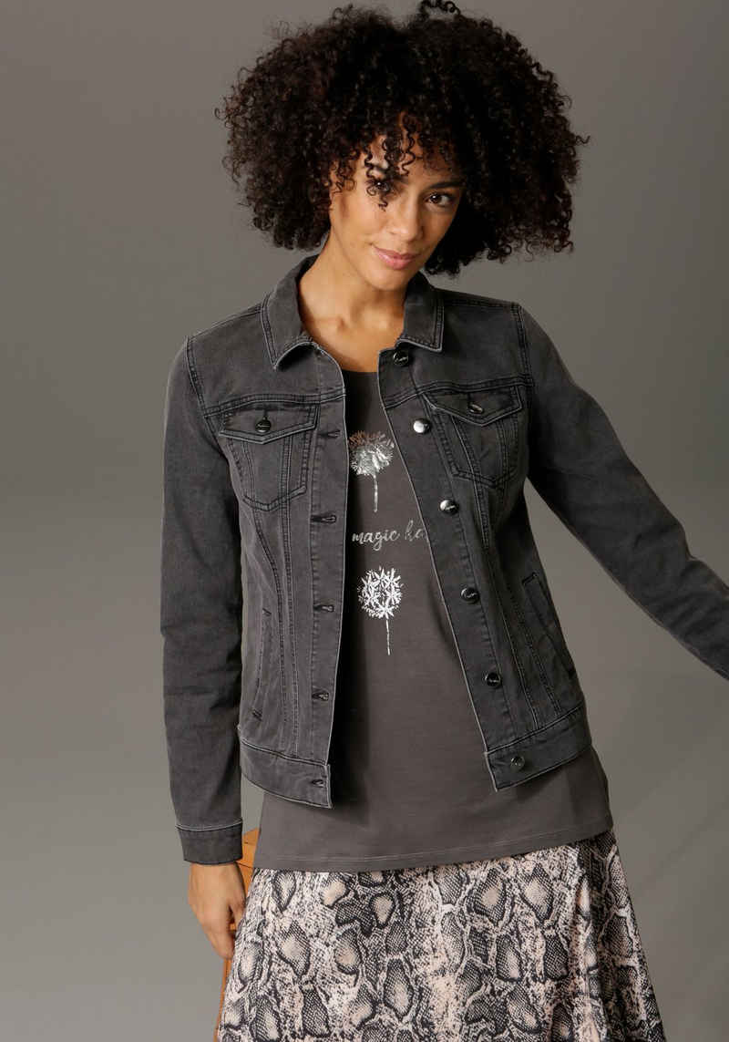 Aniston CASUAL Jeansjacke in trendiger Stone-Waschung