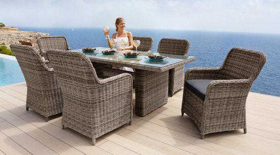 Gartenmöbelset »Korsika«, 13-tlg., 6 Sessel, Tisch 200x100 cm, Polyrattan, natur