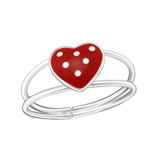 BUNGSA Fingerring »Ring Herz 925 Silber Kinder« (inkl. Schmuckbeutel aus Organza), Damen Herren Verlobung Ehering Valentinstag