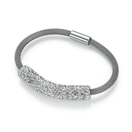 Jacques Charrel Armband »Schlauch mit Mittelteil Kristallsteinen, Edelstahl«