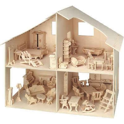 Pebaro Holzbaukasten »Holzbausatz Puppenhaus (inkl. Möbel - über 40«