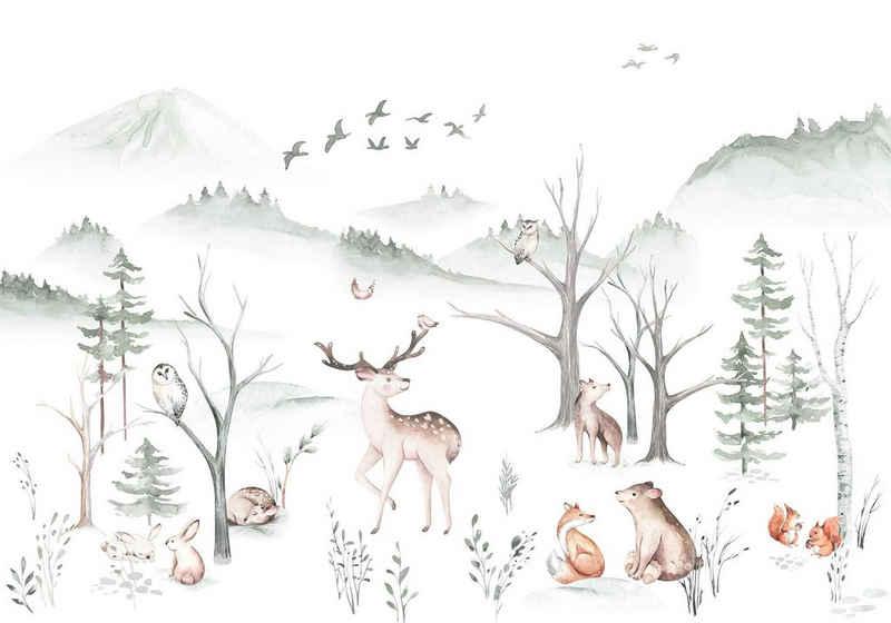 Komar Fototapete »Cozy Woods«, glatt, bedruckt, Comic, Retro, mehrfarbig, BxH: 400x280 cm