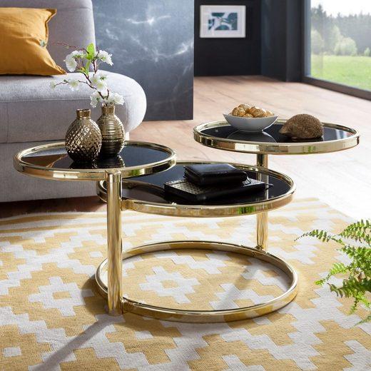 Wohnling Couchtisch »WL5.767«, SUSI mit 3 Tischplatten Schwarz / Gold 58 x 43 x 58 cm Beistelltisch Rund Design Wohnzimmertisch Glas / Metall Designer Glastisch Sofatisch modern Kleiner Loungetisch