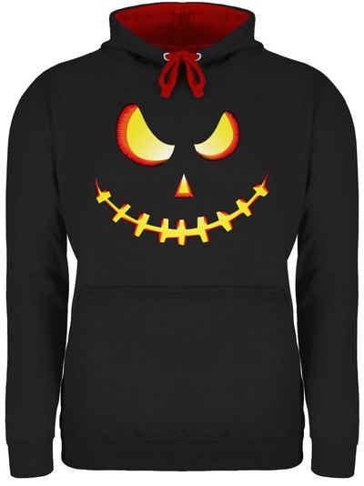 Shirtracer Hoodie »Gruseliges Kürbis-Gesicht - Halloween - Unisex Damen & Herren Kontrast Hoodie«