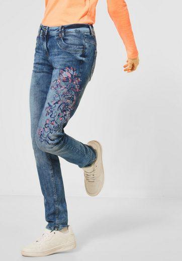 Cecil Loose-fit-Jeans mit Blumen-Stickerei