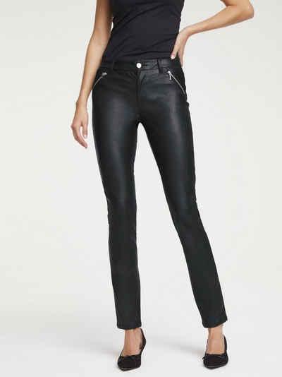 185 Damen Leder Optik Gerades Bein Lederimitat-Hose Jeans Hüft Hose
