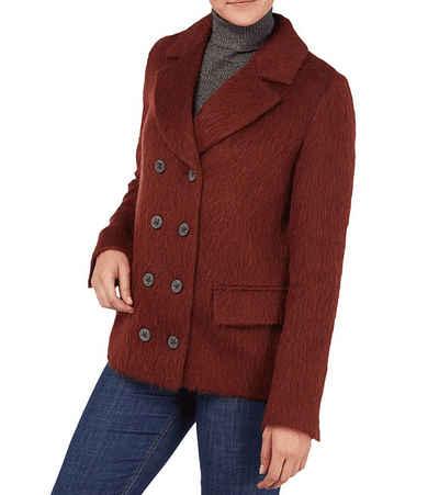Boss Cabanjacke »Hugo Boss Caban-Jacke klassische Damen Mantel flauschiger Wollmischung Freizeit-Jacke Bordeaux«