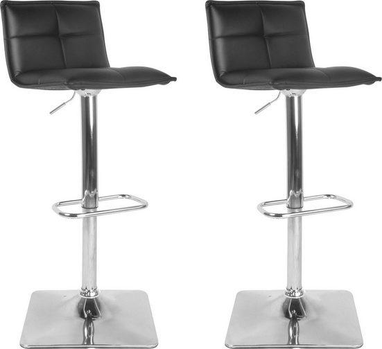 byLIVING Barhocker (Set, 2er), 2er Set, drehbar mit Höhenverstellung, in Kunstleder schwarz oder weiß