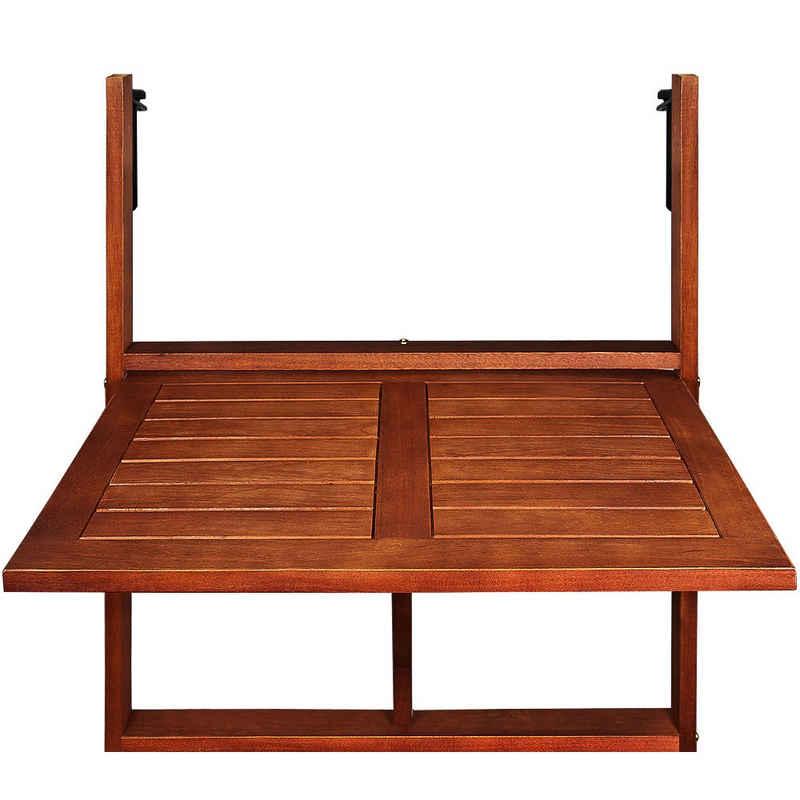 Casaria Balkonhängetisch »Akazie« (1-St), Klappbar FSC®-zertifiziertes Akazienholz Hängend 64x45xcm Balkontisch Hängetisch Balkon Geländer