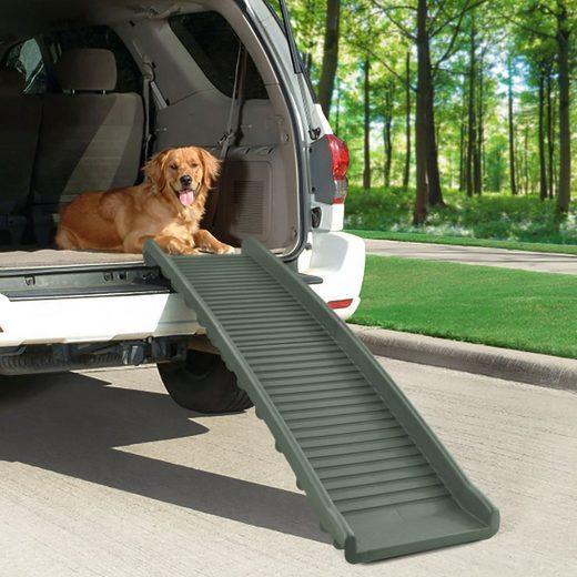 RAMROXX Hunderampe »Auto PKW Hunderampe Einstieghilfe Anti Rutsch klappbar Olivgrün 155x40cm 90Kg«, ABS Kunststoff