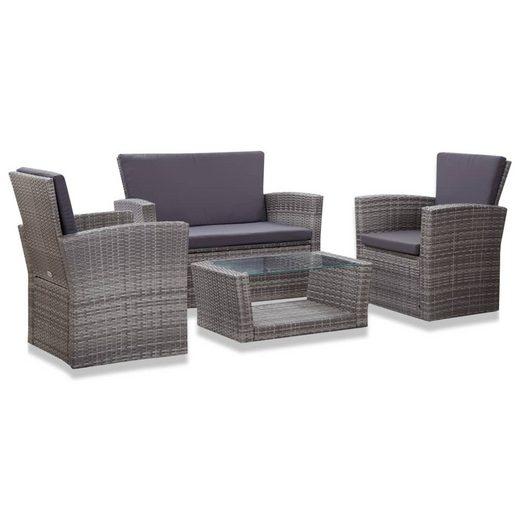 vidaXL Gartenmöbelset »vidaXL 4-tlg. Garten-Lounge-Set mit Auflagen Poly Rattan Grau«