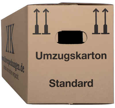 KK Verpackungen Aufbewahrungsbox (Spar-Set, 25 Stück, 25er-Set), Umzugskartons Umzugskiste Bücherkarton in Basicqualität Braun