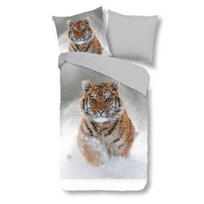 Bettwäsche »Feinbiber«, Traumschloss, Tiger im Schnee