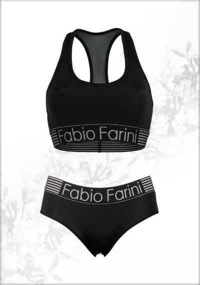 Fabio Farini Sport-BH (Set aus Panty und BH, 1-tlg) bügellos mit Mesheinsatz im Rücken und Logo-Bund