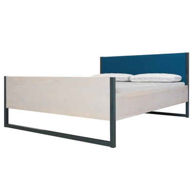 JOHANENLIES Bett »Upcycling Komfortbett LUBERON VIDAR 3«, Recyceltes Bauholz, Stahl und Wollfilz. Puristisches Design. Handarbeitgefertigt.