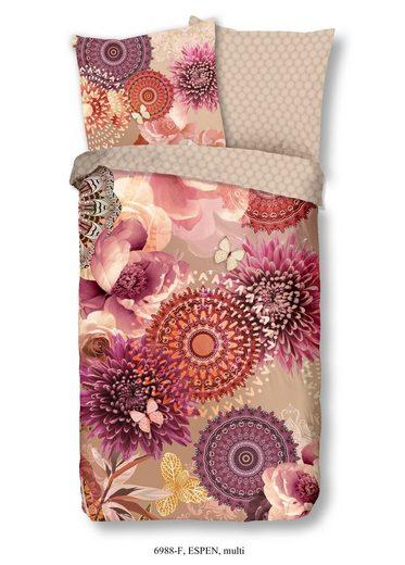 Bettwäsche »ESPEN«, hip, BIBER-Bettwäsche, Mandalas und Ornamente mit Blüten Beerenfarben