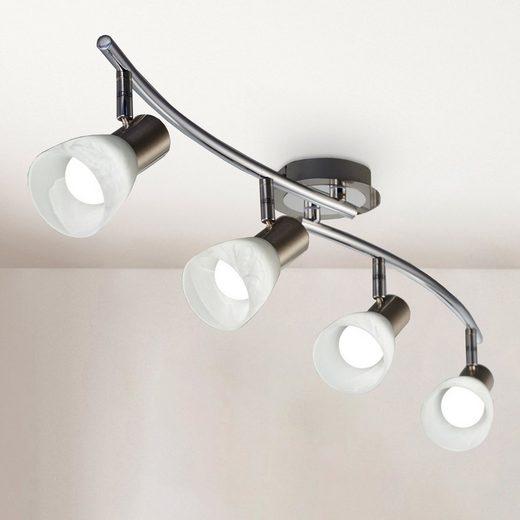 B.K.Licht LED Deckenstrahler, LED Deckenlampe Wohnzimmer schwenkbar E14 Metall Glas Spot Leuchte