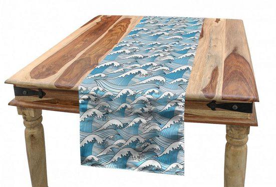 Abakuhaus Tischläufer »Esszimmer Küche Rechteckiger Dekorativer Tischläufer«, Ozean Wellenförmige Sea Marine Stripes