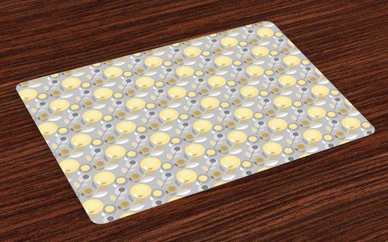 Tischdecke, »Waschbare Stoff Esszimmer Küche Tischdekorations Digitaldruck«, Abakuhaus, (4-teilig, 4 Teilig-St., Set aus 4x), Gelbe Blume 60er-Muster
