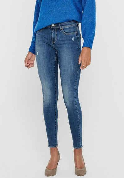 Only Skinny-fit-Jeans »ONLWAUW« mit leichten Destroyed Effekten