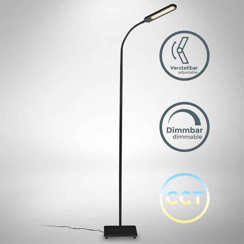 B.K.Licht Stehlampe, LED Stehlampe schwarz dimmbar, inkl. 8W 600lm LED Platine, Stehleuchte, CCT 3000K - 6500K warmweiß - kaltweiß, Memory & Touch Funktion