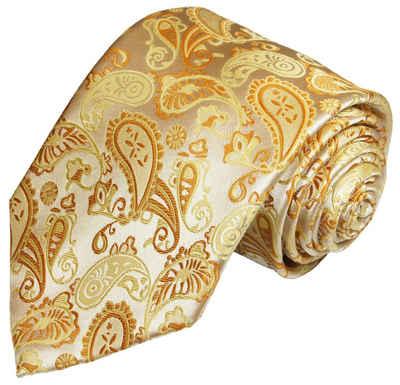 Paul Malone Krawatte »Herren Hochzeitskrawatte paisley klassisch elegant - Mikrofaser - Bräutigam Hochzeitsmode« Breit (8cm), gold V16
