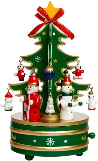SIKORA Weihnachtsfigur »SD03 Spieldose für Weihnachten aus Holz mit Tannenbaum Musik Stille Nacht«