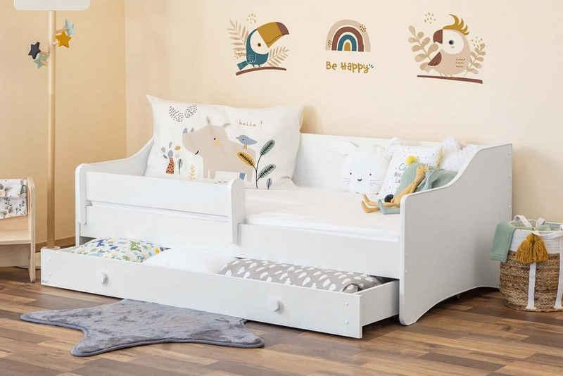 Alcube Einzelbett »MAXI 80x160 cm«, inkl. Matratze Rausfallschutz Schublade und Lattenrost, viel Stauraum, hohe Stabilität, Jugendbett 160x80 cm in Weiß umbaubar in Couch oder Sofa